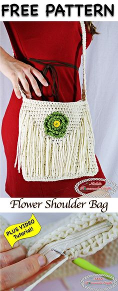 Crochet Purses Flower Shoulder Bag - Free Crochet Pattern - Nicki's Homemade Crafts - This Flower Shoulder Bag is pretty, elegant and functional. It has an inside pocket as well as a zipper and is very sturdy. Get the free pattern now Crochet Bag Tutorials, Crochet Purse Patterns, Easy Crochet Projects, Crochet Ideas, Crochet Handbags, Crochet Purses, Crochet Bags, Cross Shoulder Bags, Crochet Shoulder Bags