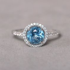 Swiss Blue Topaz Ring Sterling Silver 925 by KnightJewelry on Etsy, $75.00