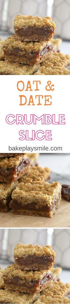 Vegan Oat & Date Crumble Slice (easy biscuits recipe vegan) Weight Watcher Desserts, Köstliche Desserts, Delicious Desserts, Yummy Food, Baking Recipes, Cake Recipes, Dessert Recipes, Low Carb Dessert, Healthy Vegan Snacks