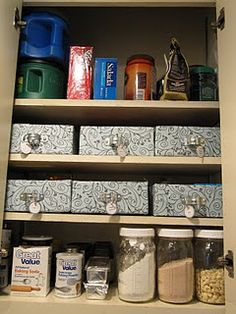 Easy to make Storage bins for the kitchen...Think.. Jello and Pudding boxes in a jumbled mess...  this will keep them all together and all you have to do is pull out the box to easily find what you need!