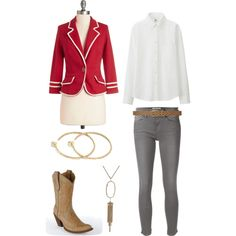 Red+Grey by megan-martin-i on Polyvore featuring Uniqlo, Frame Denim, Corral, Yossi Harari, Kendra Scott and Dorothy Perkins