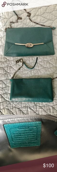 Coach Crossbody Clutch Beautiful turquoise Coach Crossbody Clutch! Genuine leather with inside zip pocket. Can be worn with the strap or held as a clutch with the strap tucked in. Envelope closure. Coach Bags Crossbody Bags