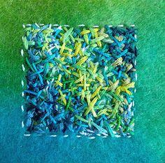 Painting with cross stitches on hand dyed felt #1... www.stitchingmystory.typepad.com