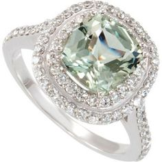 This Gorgeous green Quartz and Diamond ring I want!!!