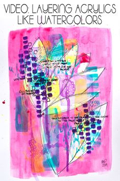 Watch how Kim Dellow layers acrylic paint like it was watercolor paint in this timelapse video of a bright abstract flower. Art Journal Pages, Art Journaling, Tim Holtz, Art Nouveau, Closer, Scrapbook, Fantasy, Medium Art, Art Studios