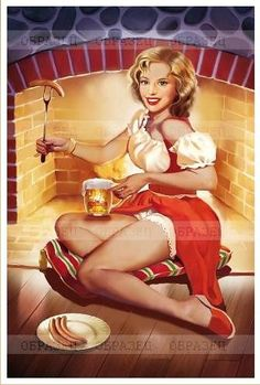 by Tatiana Doronina Pin Up Pictures, Pin Up Photos, Pin Up Drawings, Baby Ruth, Beer Poster, Creation Photo, Beer Art, Calendar Girls, Pin Up Models