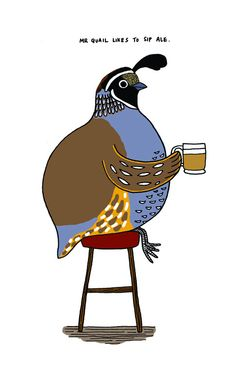 Sounds like Mr. Quail like to party! :) #cute #illustrations #quail #birds #art