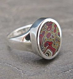 Motor Agate Fordite and Sterling Silver Ring 1082 by Fordite, $65.00