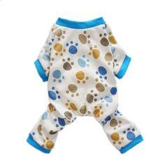 Fitwarm Adorable Paws Dog Pajamas for Dog Shirt Cozy Soft Dog Pjs Dog Clothes, Large
