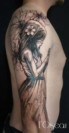 Poetic Sketch Tattoo by L'Oiseau