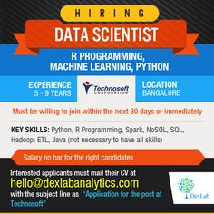 Hiring #DataScientists – R programming, #MachineLearning, Python