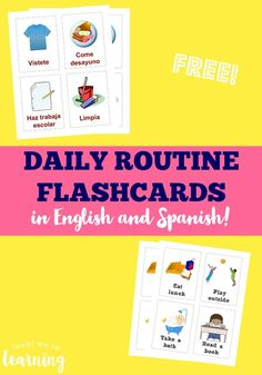 These English and Spanish free daily routine cards for kids make it easy to help preschoolers structure their days!