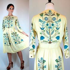 Vintage 60s Bluebell Garden Party Cream Dress w/ Pleated Skirt. Bright Floral romantic Tree Print Boatneck Midi Shift Boho hippie. Small by BluegrassVoodoo on Etsy