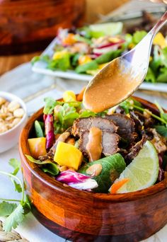 CrockPot Thai Steak Salad with Peanut-Hoisin Sauce #recipe #healthy