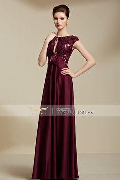 New Deep Red Sleeveless Empire Waist Pleated Evening Dress 82116 #promdress #longgown #eveninggowns