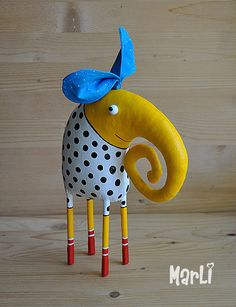 yellow elephant by MarLitoys on Etsy