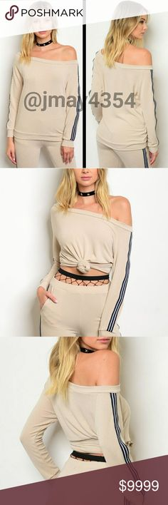 COMING SOON LOVE THIS! Super chic and on trend sweatshirt top. Tan with navy side stripes on sleeves. Matching pants will also be available for sale.  More info to come!  SIZES AVAILABLE: S M l  MODELING SIZE: I.G: @JMAYORGA91   LIKE TO BE NOTIFIED or COMMENT BELOW Tops Sweatshirts & Hoodies