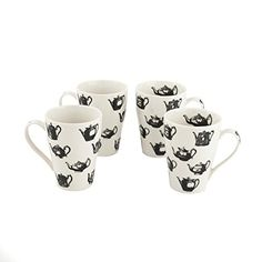 Cardew Design Pewter Teapots Mug Set of 4 15 oz Multicolor -- You can find more details by visiting the image link.Note:It is affiliate link to Amazon.