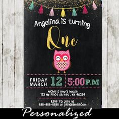8 best owl birthday party for girls invitations images on pinterest adorable pink owl party invitation for girls this printable owl themed birthday party invitation features filmwisefo