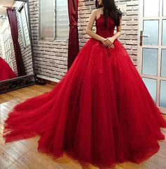 New Burgundy Quinceanera Dress Sweet 16 Prom Formal Evening Cocktail Party Gown in Clothing, Shoes & Accessories, Women's Clothing, Dresses | eBay