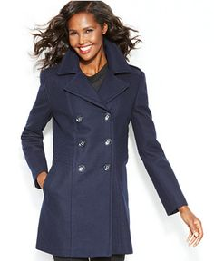 Kenneth Cole Reaction Double-Breasted Wool-Blend Peacoat - Coats - Women - Macy's