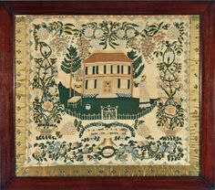 Antique needlework sampler by Phebe Ann House Lancaster County, PA dated 1825