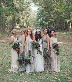Autumnal wedding inspiration, gorgeous laid back boho bridesmaids in mismatched dresses.: