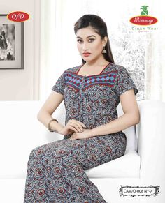 Charmful Cambric finely woven Nighties designed by Pommys for women www.in/online-shopping Girls Night Dress, Sexy Night Dress, Night Dress For Women, Night Gown, Nighty Online Shopping, Cotton Nighties, Sleeves Designs For Dresses, Kurta Neck Design, Pajama Outfits