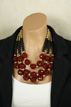 Dark Red Multi Strand Statement Necklace Ruby by EclecticOrnaments