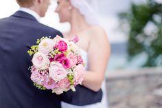 Brautstrauß in rosa und pink mit Rosen