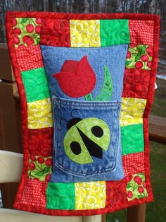 Red Tulip Green Ladybug Recycled Denim Quilted Tooth Fairy Pillow, Quiltsy Handmade
