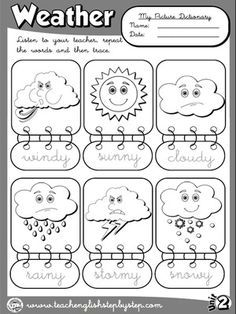 weather match printable weather seasons for preschool preschool weather weather. Black Bedroom Furniture Sets. Home Design Ideas