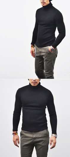 Tops :: Knits :: Must Slim Rib Wool Turtle Neck -Knit 38 - Mens Fashion Clothing For An Attractive Guy Look