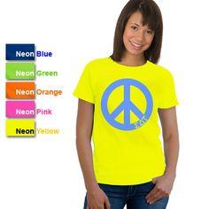 Sigma Delta Tau Sorority Neon Peace Sign Printed T-Shirt #Greek #Sorority #Clothing #SDT #SigmaDeltaTau #SigDelt #Peace