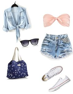 light wash silver studded distressed shorts + pale pink twist bandeau bikini top + American eagle bag + white chucks + black sunglasses + light wash long sleeve shirt tucked at the bottom