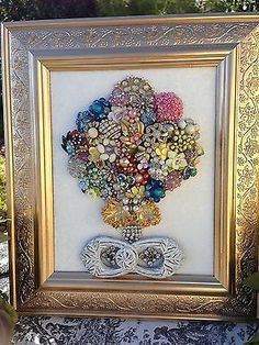 VINTAGE Costume JEWELRY Mosaic Boudoir Glam Framed Floral Bouquet Topiary Tree
