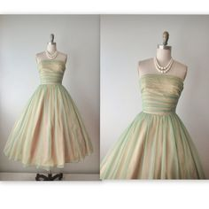 50's Prom Dress // Vintage 1950's Strapless Chiffon Cocktail Party Prom Wedding Dress Tea Gown XS