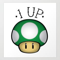 Prints & Other apparel available.  Vector tattoo design of the 1up mushroom from Super Mario.