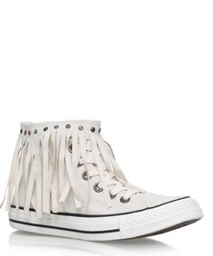 Converse Ivory Washed Denim Fringe Detail Chuck Taylor Trainers | Womenswear…