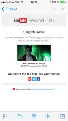 Got some recognition from @YouTube First 1% to discover #thefox :) #ylvis #music #video #fox #youtube #rewind #2013 #musicvideo #email #recognition #congrats #mats