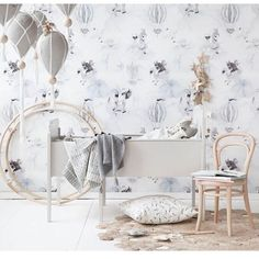 One of my favs from our @miniroom.se Mrs Mighetto photoshoot. Styled and photographed by @bodilfotograf ☁️⭐️ #wallpaper #kidsroom #kidsroom #nursery #crib #scandinavian #mrsmighetto #mrsmighettowallpaper #styling #photography