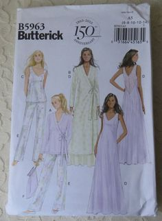 Butterick Sewing Pattern B5963 Robe, Nightgown, Pants, & Pajama Top, Bag, Size Womens Size A5 6-14