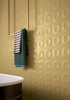 Marca Corona's Bold series of wall tiles come in four retro-inspired colorways with an innovative three-dimensional circle pattern. Keramik Design, Pastel Red, Tile Suppliers, Italian Tiles, Tile Manufacturers, Style Tile, Tile Design, Bath Design, Wall Tiles