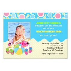 5c27992426e198 Beach Birthday Photo Card Pool Party Invitations