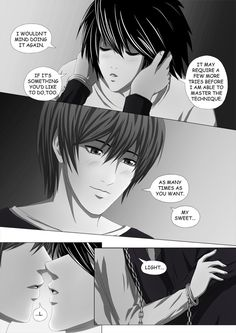 Death Note Doujinshi Page 84 by Shaami on DeviantArt Death Note I, Death Note Fanart, L X Light, Light Yagami, You're Awesome, Doujinshi, Anime, How Are You Feeling, Notes
