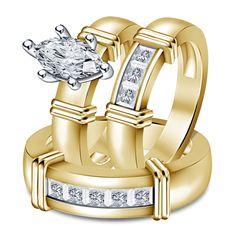 14k Y/Gold Finish 925 Silver 1.50ct White Marquise Diamond Wedding Ring Trio Set