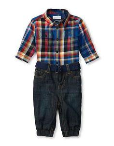 Ralph Lauren Childrenswear Baby Boys  Plaid Workshirt and Denim Jogger