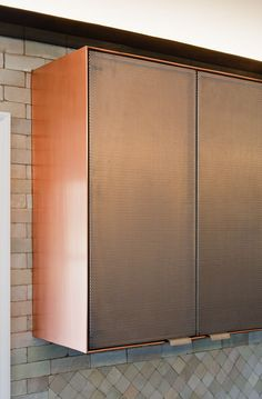 Copper and perforated steel cabinetry. Further Lane Kitchen - Robert Young Architecture & Interiors Kitchen Interior, Kitchen Design, Joinery Details, Steel Cabinet, Perforated Metal, Copper Kitchen, Kitchen Cabinetry, Deco Design, Interior Architecture