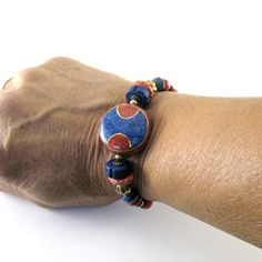 Red Blue Bracelet Lapis Howlite Napelese Bead by CinLynnBoutique, $25.00