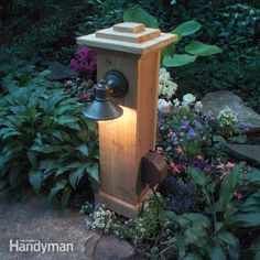 outdoor post lamp wood | underground electrical line into the garden to power an outdoor light ...